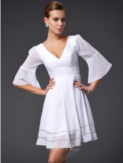 A-Line V-neck Beading 1/2 Sleeves Mini Chiffon Dress
