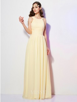 A-Line Bateau Sleeveless Pleats Floor-Length Chiffon Dress