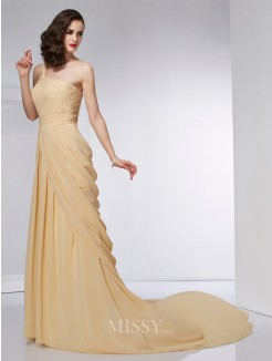 A-Line One-Shoulder Sleeveless Pleats Chiffon Chapel Train Dress