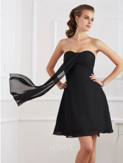 A-Line Sleeveless Pleats Strapless Chiffon Mini Dress