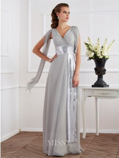 Sheath V-neck Short Sleeves Floor-Length Chiffon Dress