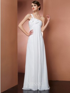 A-Line One-Shoulder Sleeveless Bowknot Floor-Length Chiffon Dress