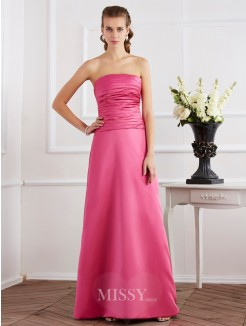 Sheath Pleats Sleeveless Strapless Satin Floor-Length Dress