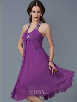 A-Line Halter Beading Sleeveless Knee-Length Chiffon Dress