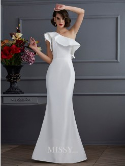 Mermaid One-Shoulder Sleeveless Ruffles Taffeta Floor-Length Dress
