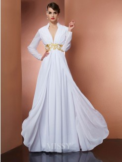 A-Line V-neck Long Sleeves Floor-Length Chiffon Dress