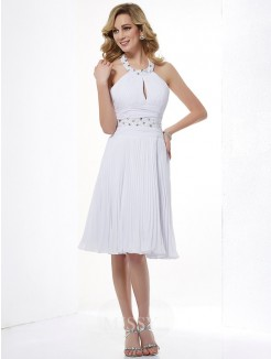 Beading A-Line Halter Sleeveless Knee-Length Chiffon Dress