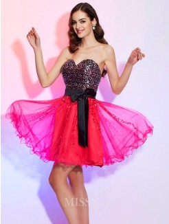 A-Line Sweetheart Sleeveless Mini Organza Dress