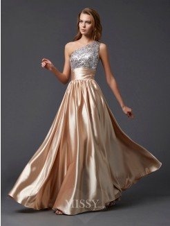 A-Line Sleeveless One-shoulder Floor-length Paillette Elastic Woven Satin Dress