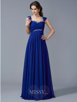 A-Line Sweetheart Sleeveless Chiffon Beading Floor-Length Dress