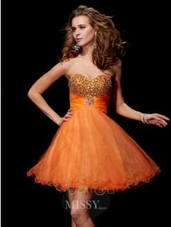 A-Line Strapless Beading Sweetheart Organza Satin Mini Dress