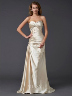 Sheath Sleeveless Sweetheart Beading Elastic Woven Satin Sweep/Brush Train Dress