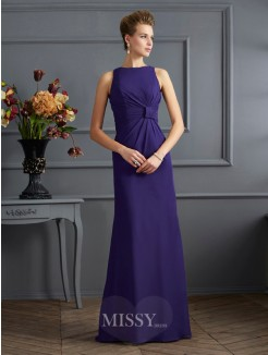 Sheath Bateau Sleeveless Pleats Chiffon Floor-Length Dress