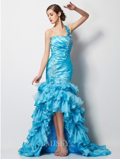 Mermaid One-Shoulder Sleeveless Beading Asymmetrical Taffeta Dress