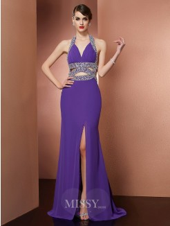 A-Line Halter Sleeveless Beading Sweep/Brush Train Chiffon Dress