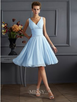 A-Line V-neck Chiffon Knee-Length Bridesmaid Dress
