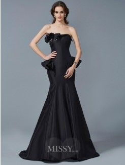 Mermaid Strapless Ruffles Sleeveless Sweep/Brush Train Taffeta Dress