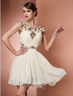 A-Line Scoop Beading Sleeveless Chiffon Applique Mini Dress