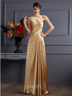A-Line One-Shoulder Sleeveless Beading Elastic Woven Satin Floor-Length Dress