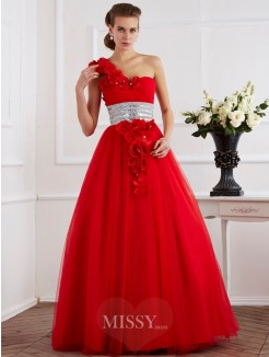 Ball Gown One-Shoulder Hand-Made Flower Sleeveless Net Floor-Length Dress