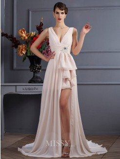 A-Line Straps Sleeveless Chiffon Beading Court Train Dress