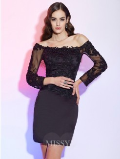 Sheath Off-the-Shoulder Long Sleeves Applique Satin Mini Mother of the Bride Dress