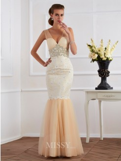 Mermaid Sleeveless V-neck Beading Floor-length Net Lace Dress