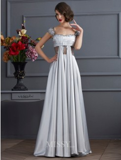 A-Line Off-the-Shoulder Pleats Sleeveless Elastic Woven Satin Dress