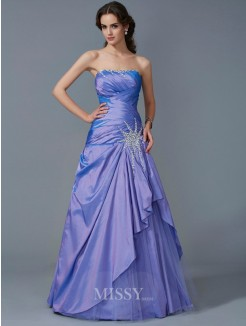Mermaid Strapless Sleeveless Beading Taffeta Floor-Length Dress