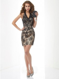 Sheath Halter Sleeveless Lace Mini Dress