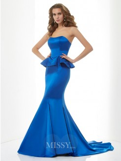 Mermaid Sweetheart Sleeveless Sweep/Brush Train Satin Dress