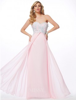 Sweetheart Sheath Sleeveless Applique Chiffon Floor-Length Dress With Beading