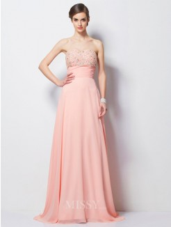 A-Line Sweetheart Beading Sleeveless Sweep/Brush Train Chiffon Dress