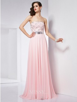 A-Line Strapless Sleeveless Beading Chiffon Sweep/Brush Train Dress