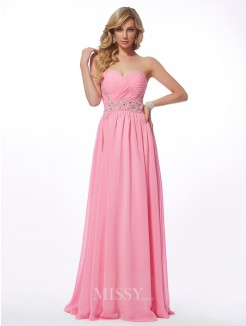 A-Line Sweetheart Sleeveless Applique Floor-length Chiffon Dress
