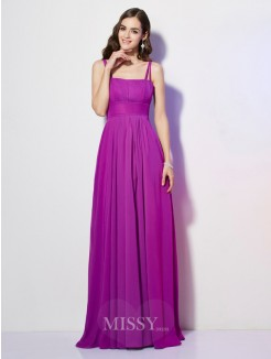 Sheath Spaghetti Straps Sleeveless Pleats Chiffon Floor-Length Dress
