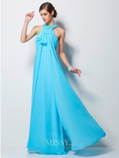 Sheath Beading Sleeveless Floor-Length Chiffon Dress
