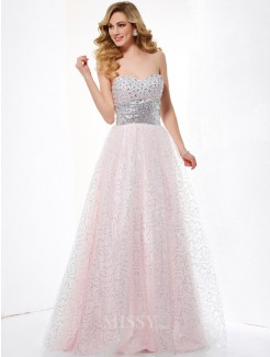 Ball Gown Sweetheart Satin Floor-Length Sleeveless Dress