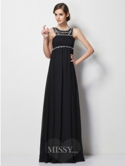 Sheath High Neck Sleeveless Beading Floor-Length Chiffon Dress