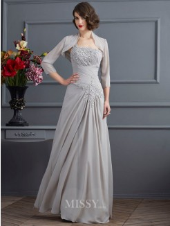 A-Line One-Shoulder Sleeveless Chiffon Floor-Length Mother of the Bride Dress