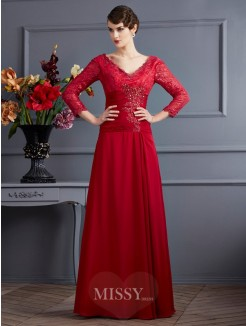 A-Line Chiffon 3/4 Sleeves Floor-Length V-neck Dress