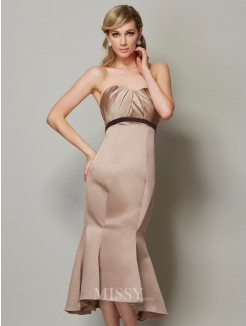 Sweetheart Sheath Sleeveless Satin Sash/Ribbon/Belt Tea-Length Dress