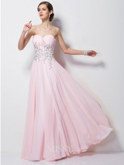 A-Line Sweetheart Beading Sleeveless Chiffon Floor-length Dress