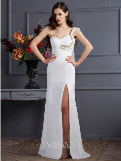 A-Line Sleeveless One-Shoulder Chiffon Sweep/Brush Train Beading Dress
