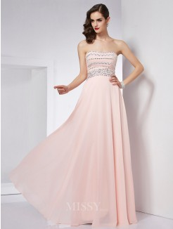 A-Line Strapless Beading Sleeveless Floor-Length Chiffon Dress