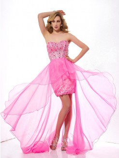 Beading A-Line Sweetheart Asymmetrical Sleeveless Organza Dress