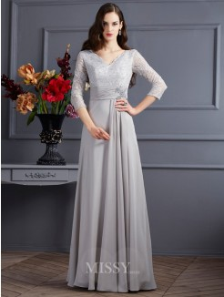 A-Line Chiffon V-neck 3/4 Sleeves Applique Floor-Length Dress