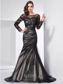Mermaid Jewel Long Sleeves Applique Sweep/Brush Train Satin Dress
