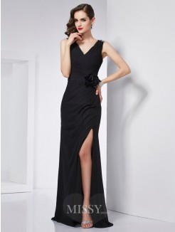 Sheath V-neck Sleeveless Beading Chiffon Floor-Length Dress