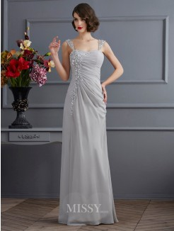 Mermaid Straps Sleeveless Beading Chiffon Floor-Length Dress